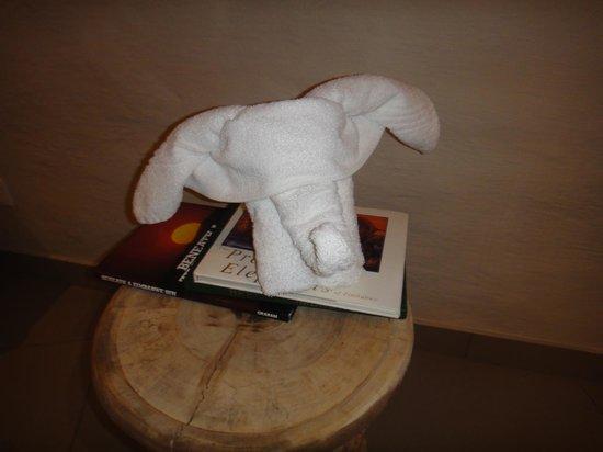 Victoria Falls Safari Club: Elephant towel in the room