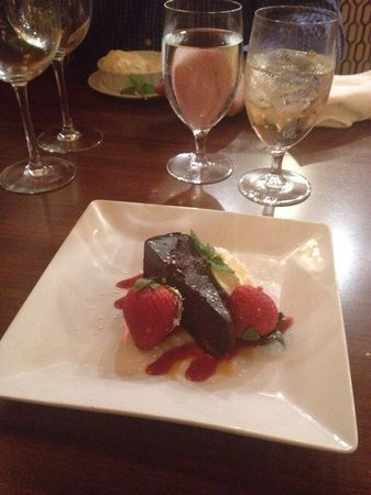 Downtown Grille: Chocolate torte with raspberry sauce