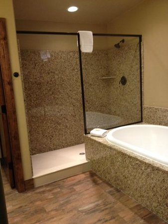 Cable Mountain Lodge: Spacious shower, but watch the steam.