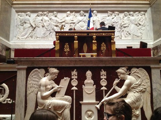 Assemblee Nationale: The central podium in the debate chamber