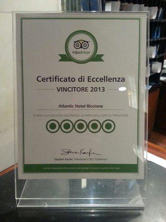 Atlantic Hotel Riccione : Hotel eccezionalmente ospitale e di grande stile! Ecco l'eccellenza TripAdvisor!