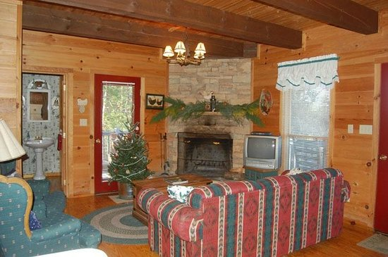 Pioneer Cabins & Guest Farm: Comfortable living space with seasonal decorations