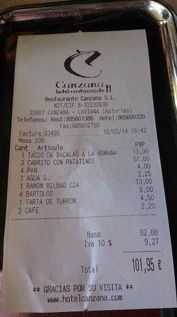 Restaurante Canzana La Factura