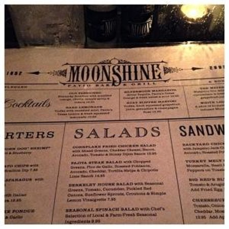 Moonshine Patio Bar U0026 Grill: Menu