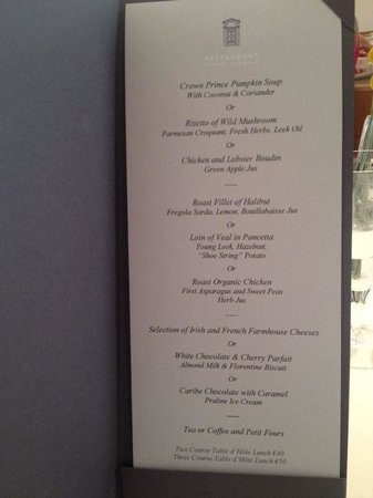 Restaurant Patrick Guilbaud: Lunch Menu