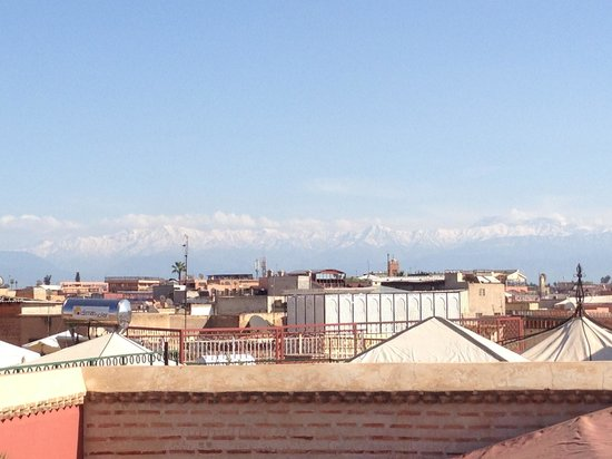 Riad El Zohar: View of High Atlas from the roof terrace of El Zohar