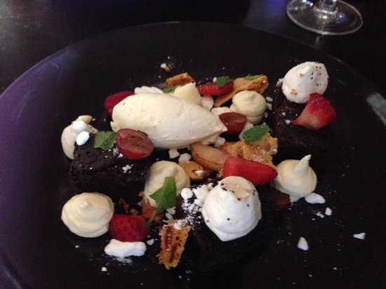 Fusion: Chocolate brownies, meringues, toffee popcorn, honeycomb, blueberries, strawberries, cream and r