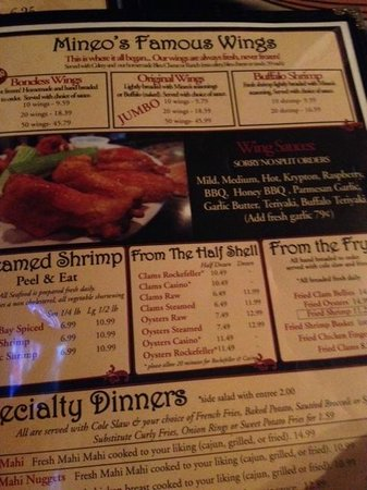 Mineo's Pizza Wings & Raw Bar: menu