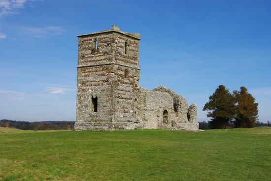 Knowlton Church and Earthworks: Knowlton Church and yew trees
