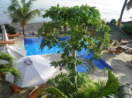 Puri Wirata Dive Resort and Spa Amed: Vue de la terrasse