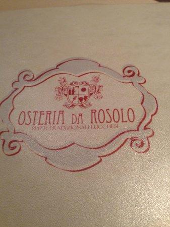 Osteria da Rosolo : il menu'