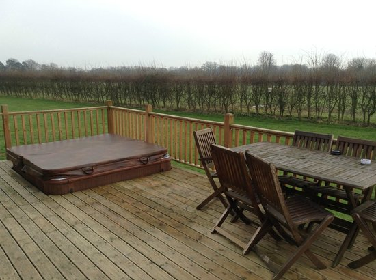 Athelington Hall Log Cabin Holidays: Our terrace view