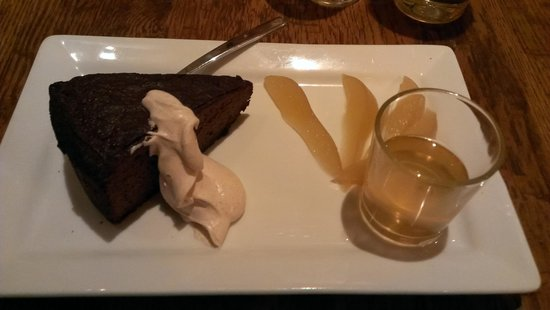 Finbarr's Irish Pub : Ginger Cake - Did go very well with the poached pears and the whiskey syrup