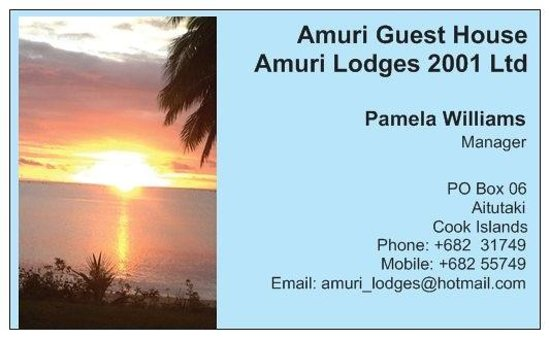 Amuri Guesthouse : Front of Business Card