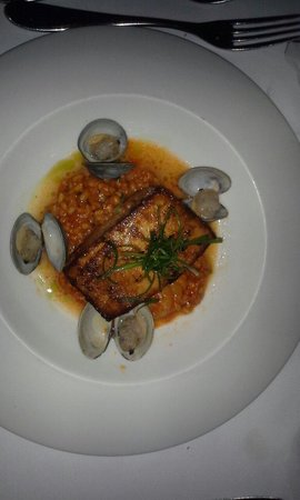 Todd English's Blue Zoo: Barbeque Swordfish with clams and rock shrimp