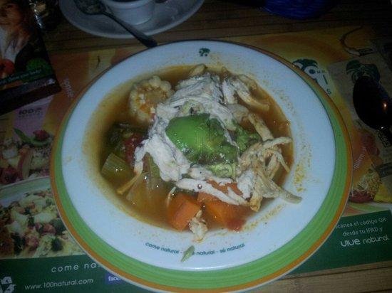 100% Natural: Verdura soupe with chicken. 56 pesos. Delicious!