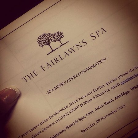 Fairlawns Hotel And Spa: Confirmation email :)