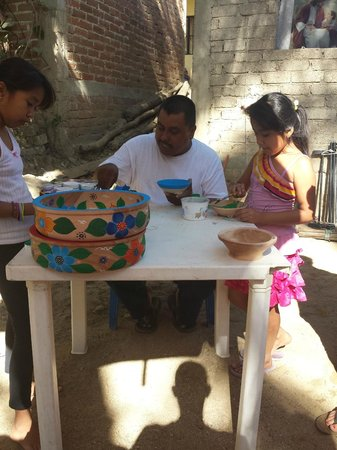 Human Connections - Day Tours: Francisco and his family painting bowls!