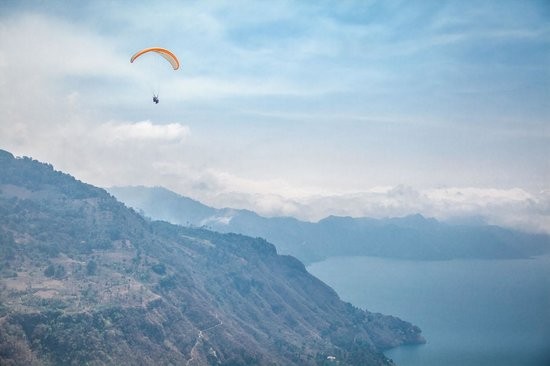 Paragliding Panajachel: Overlooking Lake Atitlan and the volcanos