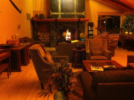 Canmore Rocky Mountain Inn : Great fireplace & compfy sofas.  Aaahhh...