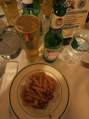 Foods of New York Tours: Penne with Bolognese and a Peroni at Monte's Trattoria