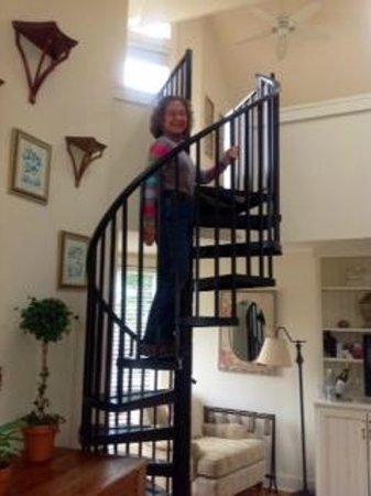 The Farmhouse at Veritas: spiral staircase