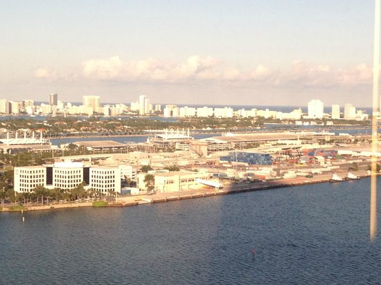 InterContinental Miami: Miami Beach in Background with Royal Caribbean Offices and Cruise Terminal in foreground