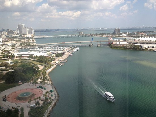 InterContinental Miami: View of BayShore Shops located right next to hotel and park with McArthur's Causway in backgroun
