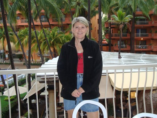 Villa del Palmar Beach Resort & Spa: Pam on balcony