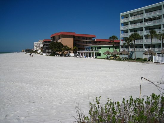 The Hotel Sol: view of hotel Isis (small green building) from beach