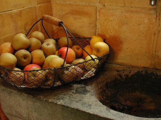 Haras Picard du Sant: Panier de fruits sur L'évier en pierre XVIIIème