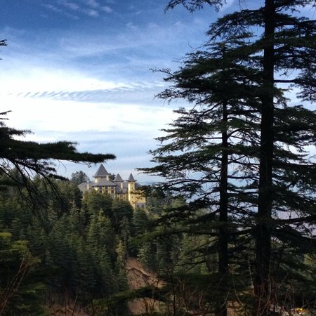 Wildflower Hall, Shimla in the Himalayas: hotel from the trail