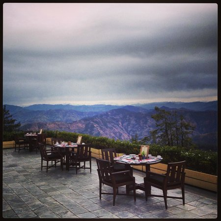 Wildflower Hall, Shimla in the Himalayas: view from the terrace dining