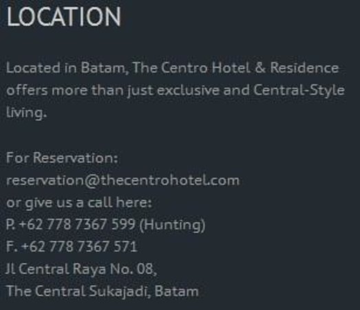 The Centro Hotel and Residence: location