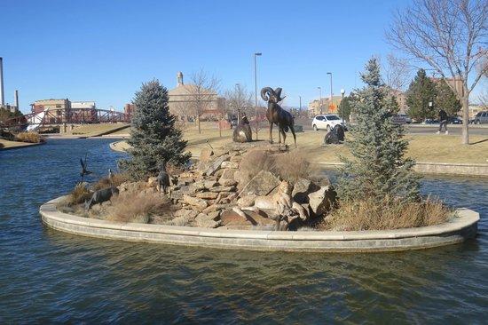 Historic Arkansas Riverwalk of Pueblo: Island & Statues opposite the Pike Interpretive Area