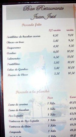 Carta.Restaurante Juan Jose
