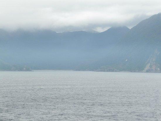 Milford sound on a foggy day