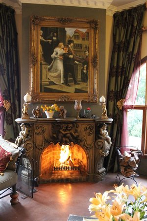 Castle in Clarens: Lounge with fireplace