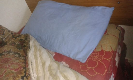 Charde Guest House: unwashed stained pillowcases