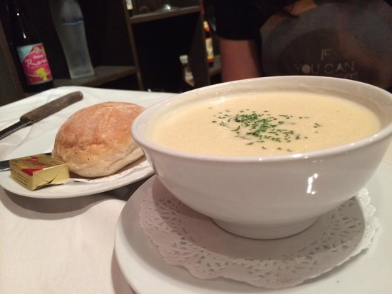 Carnivore Steak and Grill: Diced mushroom in the creamy soup...