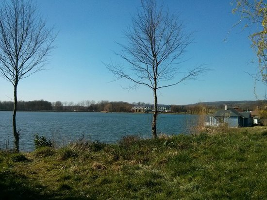 Center Parcs Le Lac d'Ailette : Vue Sur le Lac depuis jardin Cottage