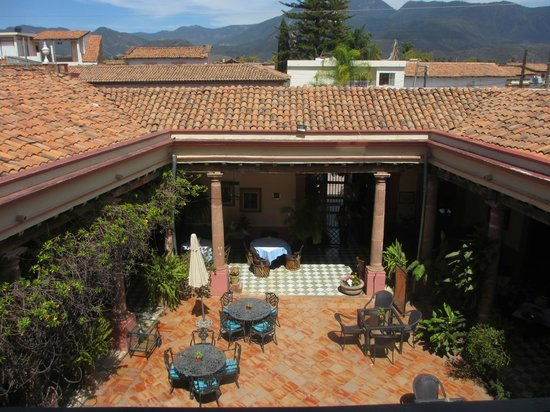 Meson de Santa Elena: View from room into inner courtyard and beyond