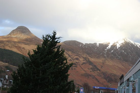 The Glencoe Inn: View from room to the Pap of Gelencoe
