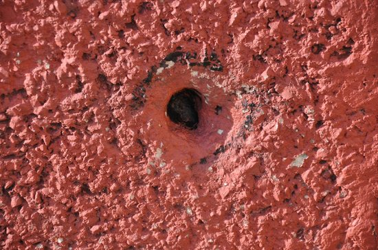 Museum of Free Derry: Bullet hole in building after shooting