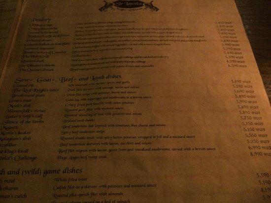 Sir Lancelot Knights' Restaurant: часть меню
