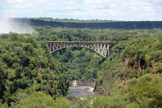 The Victoria Falls Hotel : Victoria Falls Bridge with Falls to left