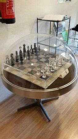 Max Euwe Centrum : Chess board made from plexiglass