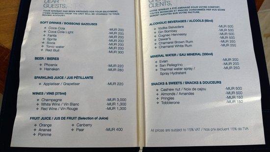 Maradiva Villas Resort and Spa: Prices for the mini bar!