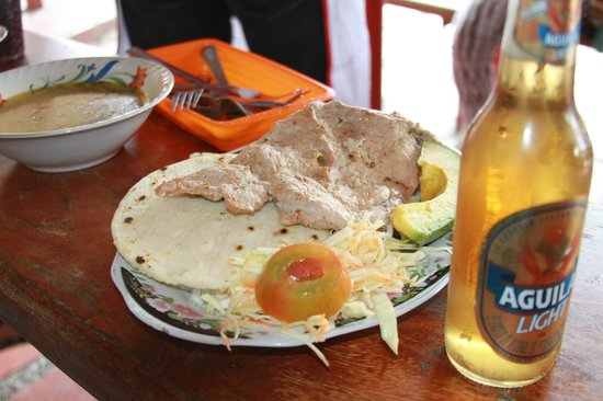 Arvi Park: $3...arepa, boiled/seasoned pork, salad, avacado, rice and beans, soup, and a beer