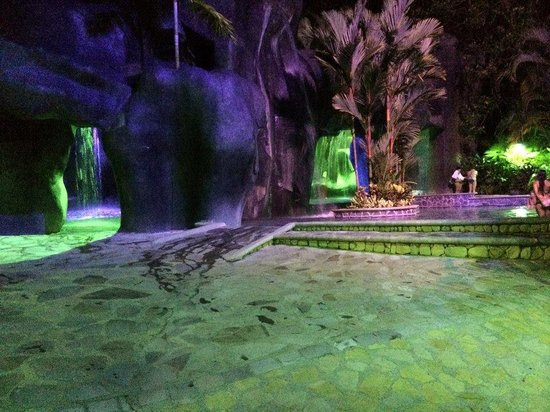 Baldi Hot Springs: The caves lit up at night